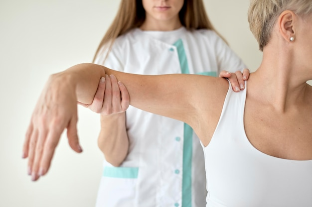 Female patient undergoing physical therapy