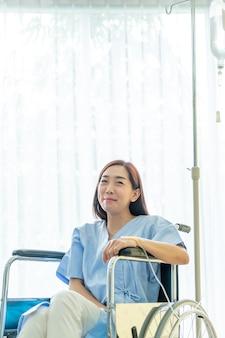 Female patient on wheelchair