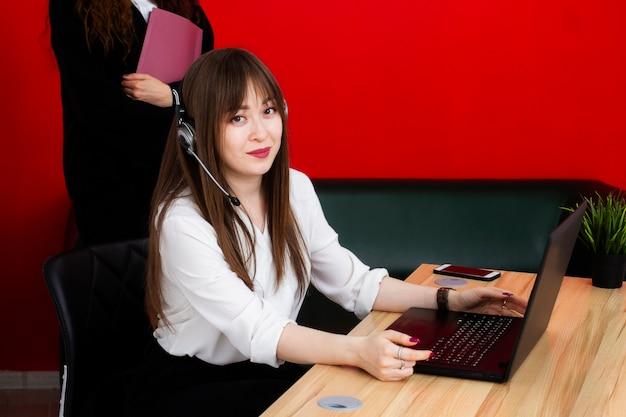 Female portrait of kazakh nationality support service hotline manager