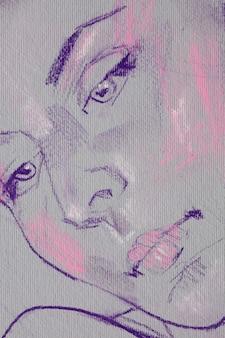 女性の肖像画鉛筆画イラストスケッチ