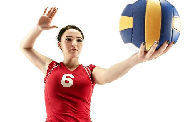 ボールと白で隔離の女性プロバレーボール選手。アスリート、運動、アクション、スポーツ、健康的なライフスタイル、トレーニング、フィットネスの概念