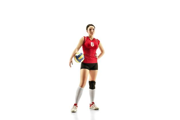 Женский профессиональный волейболист, изолированные на белом фоне