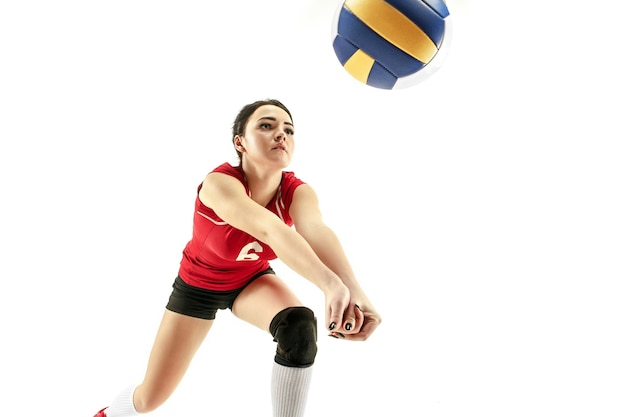 Female professional volleyball player isolated on white