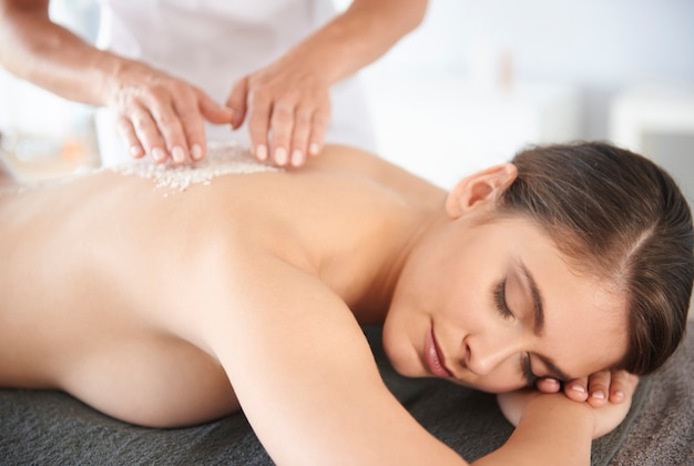 Female relaxing at the spa