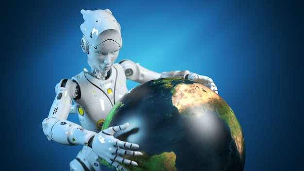 Female robot holding a globe in her hands