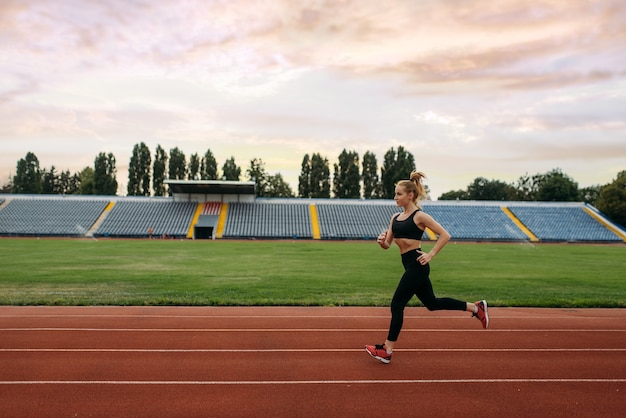 スポーツウェアのジョギング、スタジアムでのトレーニングの女性ランナー。屋外アリーナで実行する前にストレッチ運動をしている女性