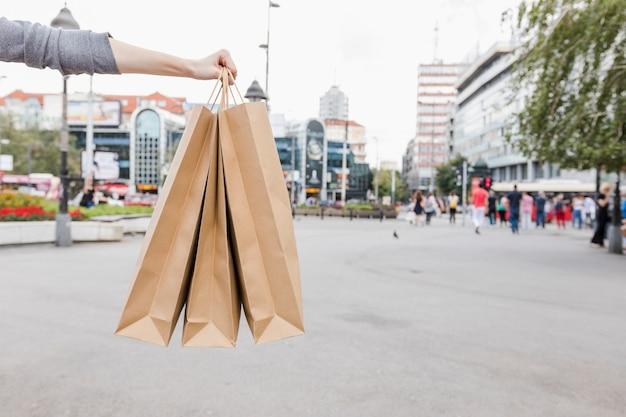 도시에 갈색 쇼핑백 함께 여자의 손