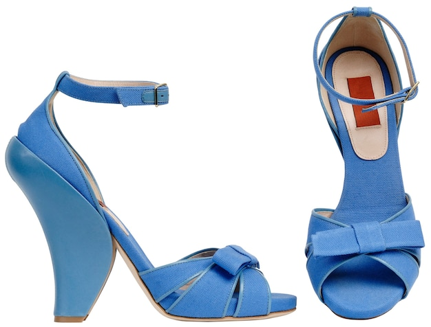 Female sandals with high heel. isolated on a white background