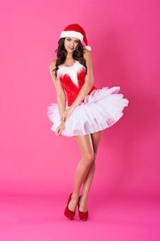여성 산타 클로스 포즈