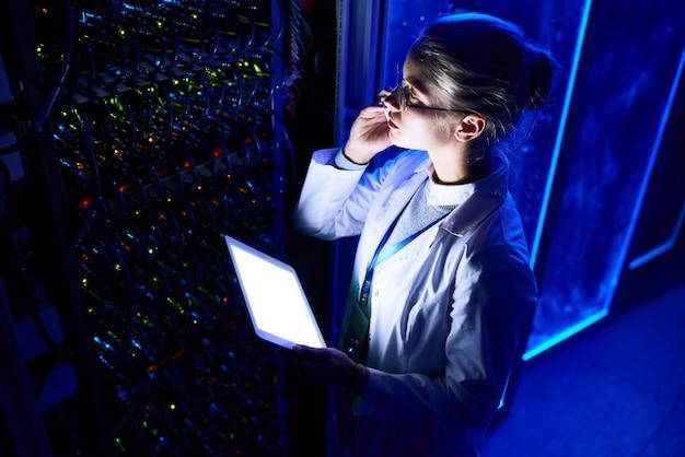 Female scientist in data laboratory
