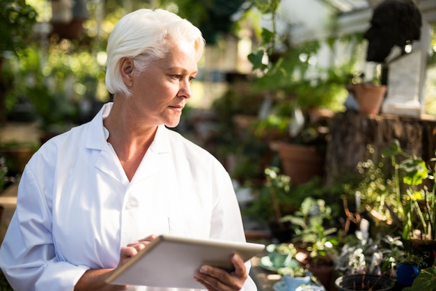 温室で植物を観察する女性科学者