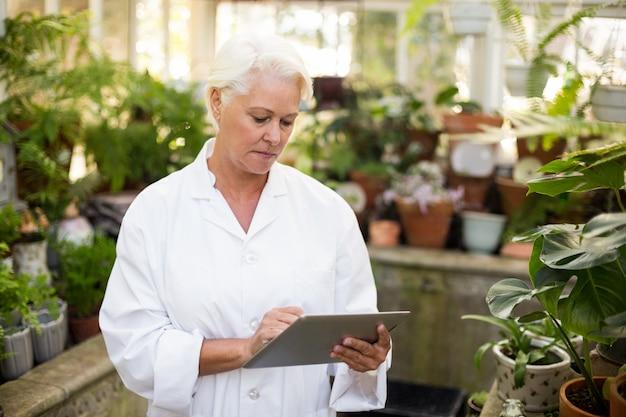 温室でデジタルタブレットを使用して女性の科学者