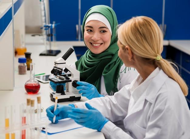 Женщины-ученые в лаборатории с микроскопом