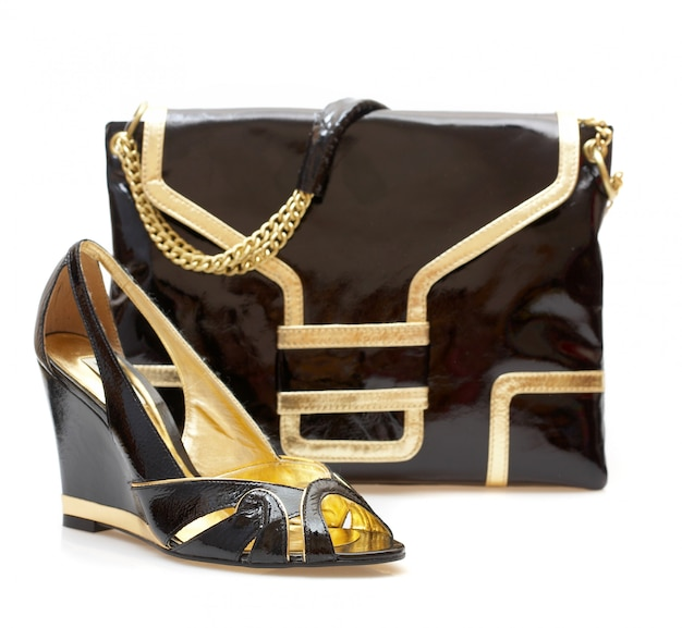 Female shoes and handbag isolated