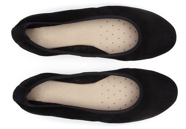 흰색 배경 평면도에 여성 신발