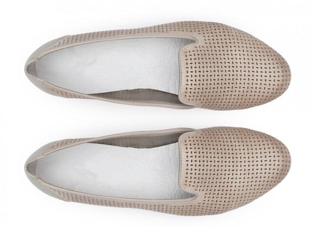 白の女性の靴。上面図。