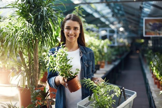Acquirente femminile che acquista piante per la sua casa in un negozio nel verde.