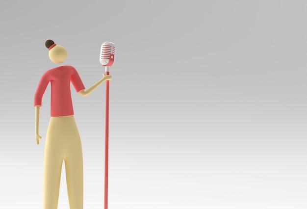 빈티지 마이크 3d 렌더링 디자인 앞의 여성 가수 만화.