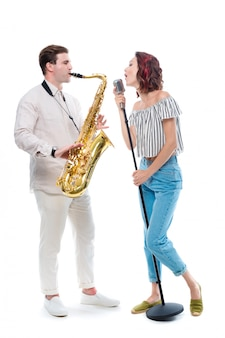 Female singer and saxophonist