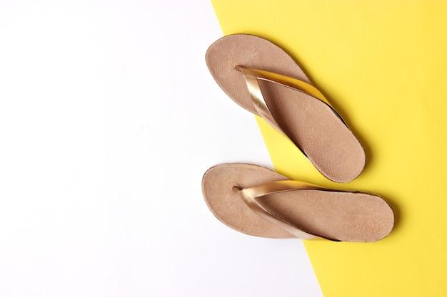 色付きの背景の上面図の女性のスリッパ。ミニマリズム、婦人靴。高品質の写真