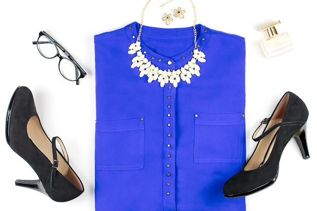 Female smart casual style clothing and accessories -purple shirt, black heels, fashion accessories.