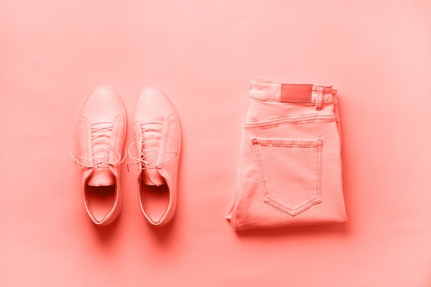 Female sneakers and jeans. top view. summer fashion