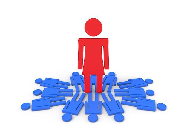 A female standing on male gender sign. gender pay gapconcept.