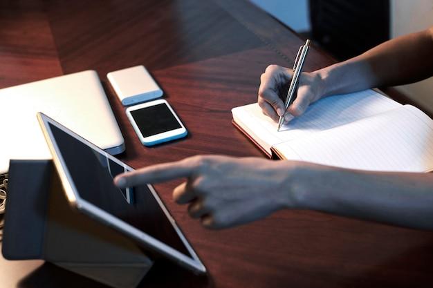 Female student doing homework