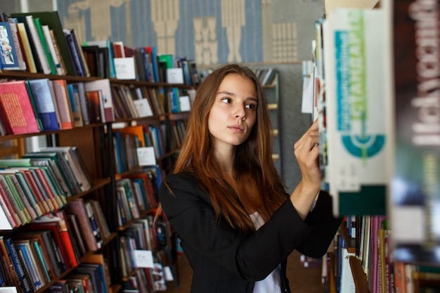 Female student in the library