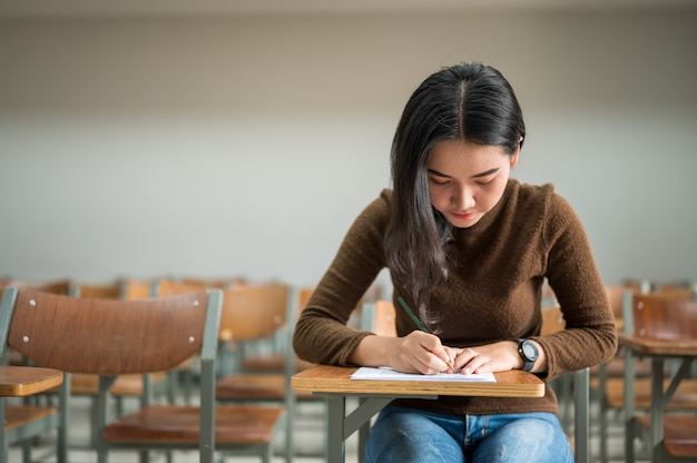 Female student taking tests at the university