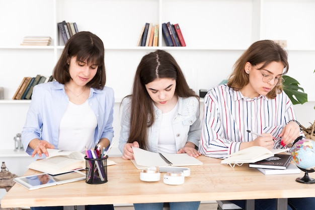 Female students studying together