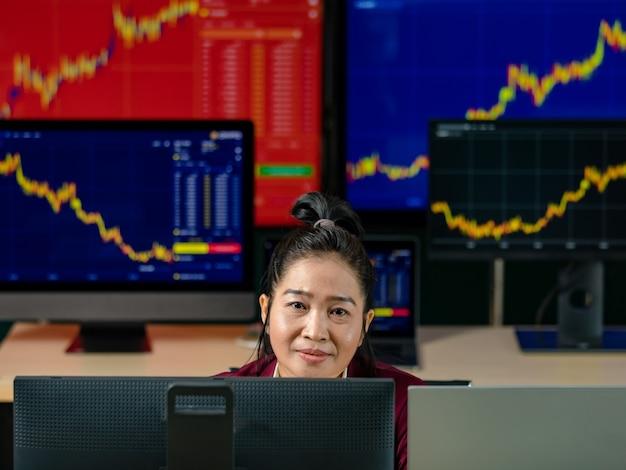 Женский успешный профессиональный трейдер-инвестор сидит и улыбается, смотрит в камеру, в окружении экрана монитора компьютера с графиком запасов и отчетом о росте анализа криптовалюты биткойнов в торговой комнате.