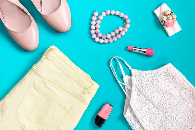 Female summer clothing collection in pastel colors, romantic style