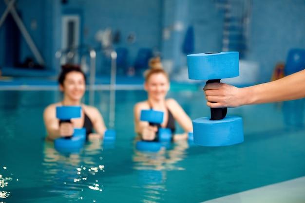 女子水泳選手、グループアクアビクス、プールでダンベルを使って運動