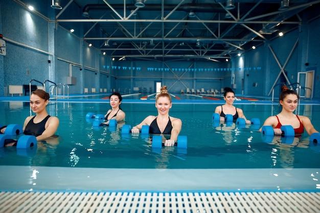 女性スイマーグループ、プール内のアクアビクス