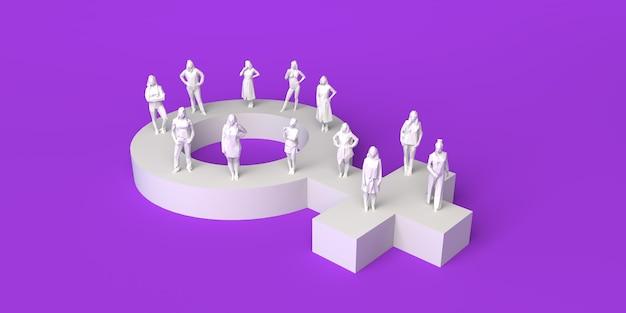 여성 상징과 여성 위에 여성 페미니즘 복사 공간