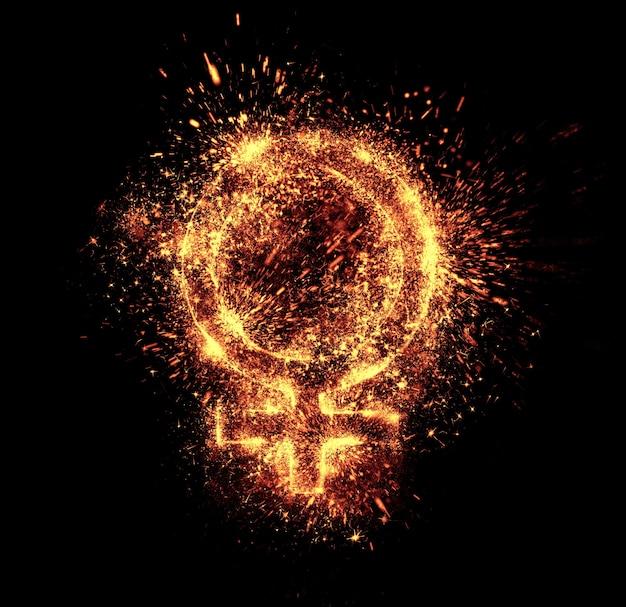 女性のシンボルの火花は黒に分離されています