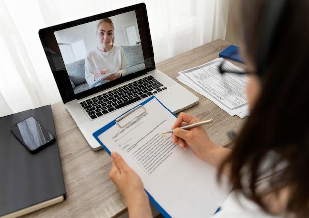 Female teacher doing online lessons