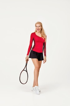 Female tennis player with tennis racket