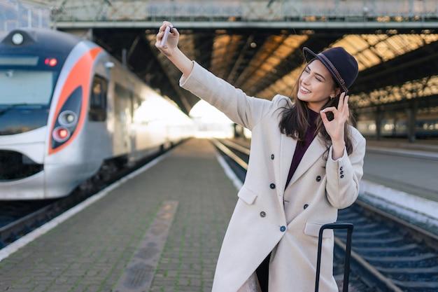 여성 여행 토킹 화상 통화