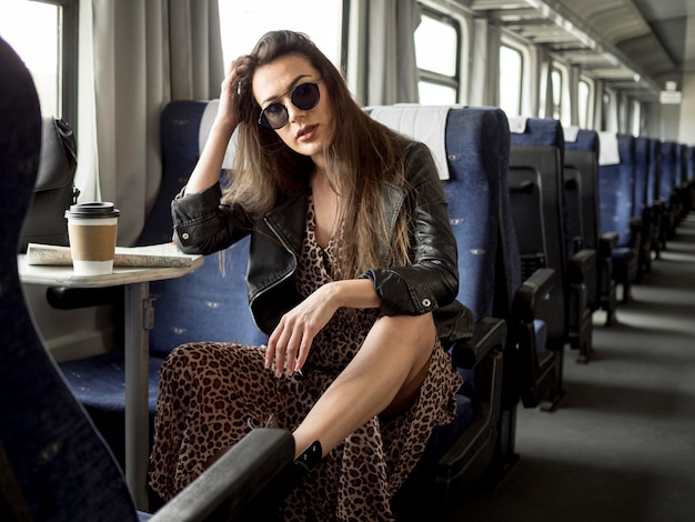 Female traveling with train