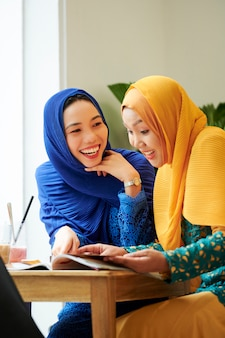 Female university students in hijabs