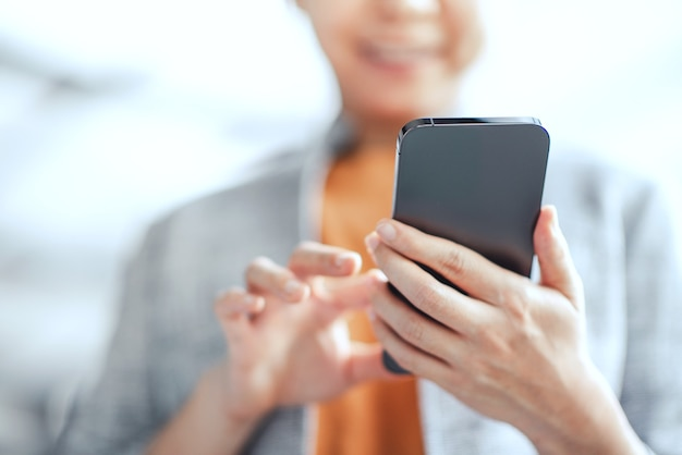 Female using smartphone with social media