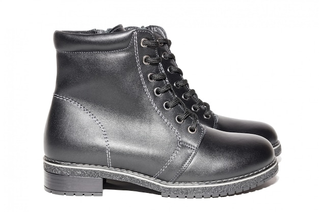 Female winter leather shoes