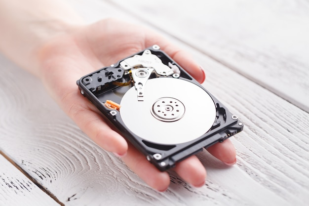 Female with a hard disk hdd in the hands