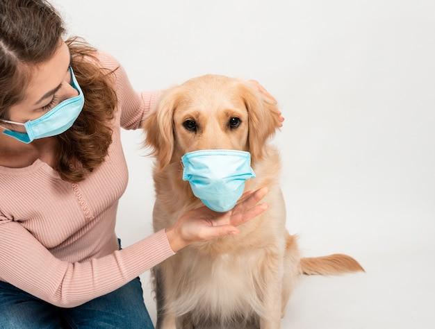 강아지와 함께 의료 보호 얼굴 마스크에 여성 여자 격리 된 흰색에 골든 리트리버입니다.