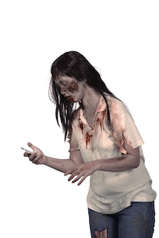 Female zombie holding cellphone
