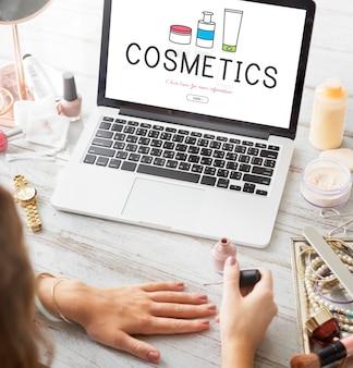 여성 미용 화장품 건강 관리 제품 개념