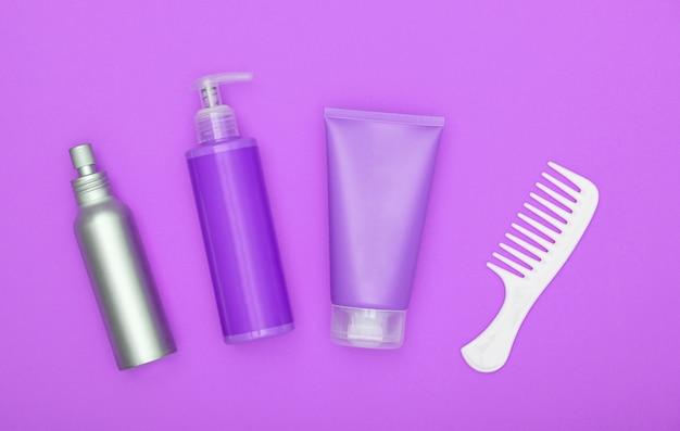 Feminine beauty hair care set on purple
