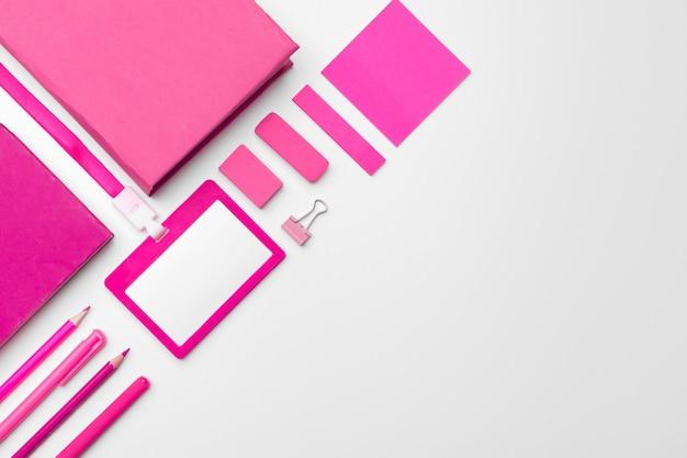 Feminine desk mock up copy space